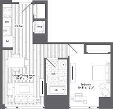 1 Bedroom Apartment Boston Floor Plans U2013 Waterside Place U2013 Boston Rentals