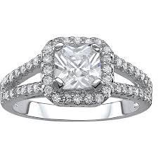 sterling silver engagement rings walmart 2 72 carat t g w halo cz solitaire sterling silver engagement