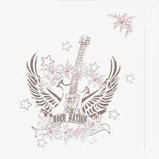 a winged guitar stars guitar strokes guitar sketches png image