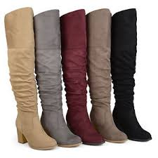 s knee boots on sale brinley co womens regular and wide calf faux suede ruched