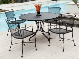 Metal Garden Table And Chairs Furniture Black Wrought Iron Outdoor Round Table With Chair Using