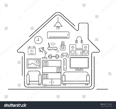 modern smart home thin line art stock vector 297466688 shutterstock