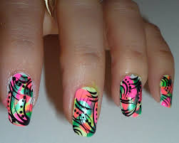 bright neon abstract nail design youtube