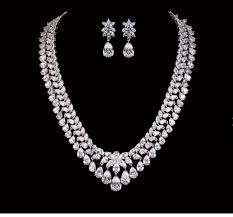 white crystal necklace set images Luxury cz crystal necklace and earrings jewellery set png