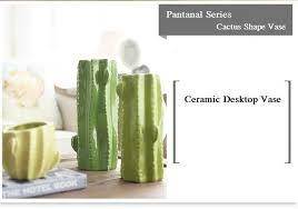home green bud vase ceramic cactus shape home decor flower fresh