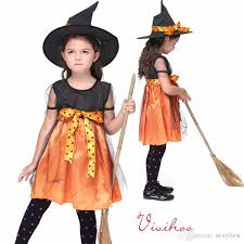 Halloween Witch Costumes Toddlers 2017 Kids Witch Cosplay Costumes Halloween Witch Pumpkin Costumes