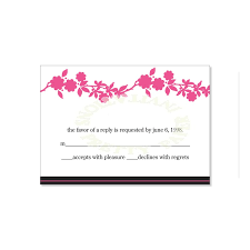 wedding wishes reply pink black rsvp card templates danielle ballet do it yourself