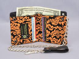 halloween bats vegan chain wallet black and orange fabric