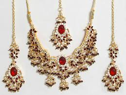 red gold jewelry necklace images Gold jewellery red and white stone necklace designs red jpg