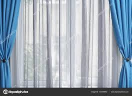 White And Blue Curtains White And Blue Curtains Stock Photo Belchonock 133248910
