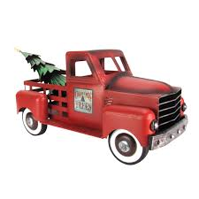 Vintage Ford Truck Decor - metal red christmas tree farm pickup truck toy decoration
