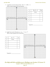 Graphing Polynomial Functions Worksheet Ex 11 Recursive Linear Functions Mathops