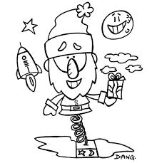 Coloriage Petit Papa Noël et les jouets par Dang illustrateur jeunesse