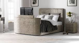 Bed Frame With Tv In Footboard Zinc Fabric Tv Bed Superior Set With In Footboard Amazing Ideas 3