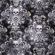 charcoal skull ornament fabric timeless treasures usa