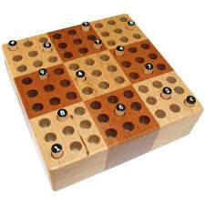 elbert mini wooden travel sudoku board game set with wood peg