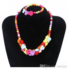 flower necklace set images South korean children 39 s candy color flower necklace set small jpg