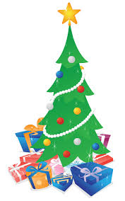 christmas tree with presents u2014 vector illustration of a shimmering