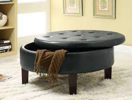 black storage ottoman stylish design round shape decor crave