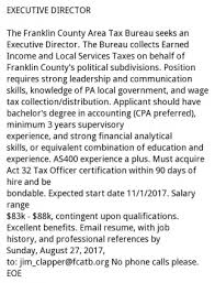 taxe bureau executive director franklin county area tax bureau chambersburg pa