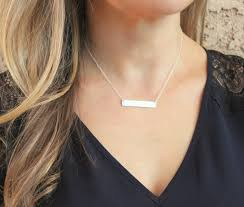 sterling silver personalized necklace images Silver necklace long silver bar necklace custom name jpg