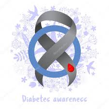 diabetes ribbon gray ribbon blood drop blue circle diabetes awareness stock