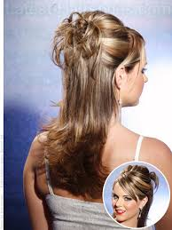 partial updos for medium length hair partial updo and down hairdo for center parted hair hairstyle ideas