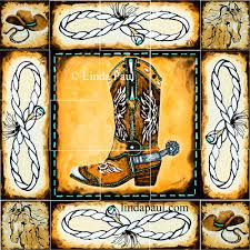 cowboy country western art tile mural kitchen backsplash