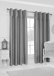 Slate Gray Curtains Velvet Border Grey Curtains Eyelet Ring Top Ready Made Faux Silk
