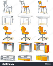furniture set home items chairs tables stock vector 43213621