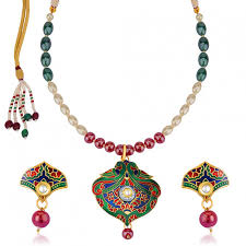 coloured pearls necklace images Purchase online sukkhi enchanting meenakari pendant set with jpg