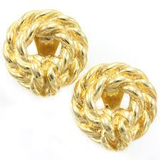 monet earrings vintage monet rope texture wreath clip on earrings heirloom