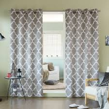 Grey And White Curtains Home Velvet Moroccan Print Grommet Top 84 Inch Curtain