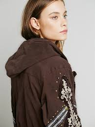 Free People Parka Free People Golden Quills Military Parka In Brown Lyst
