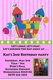 bounce house birthday invitations moon walk birthday invitations