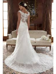 Chapel Train Wedding Dresses A Line Scoop Neck Sleeveless Chapel Train Lace Wedding Dress