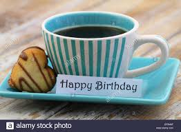 happy birthday card with cup of coffee and heart shaped cookie