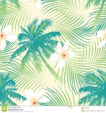 tropical palm tree with flowers seamless pattern stock vector