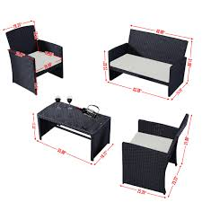 Rattan Patio Furniture Sale by Costway 4 Pc Rattan Patio Furniture Set Garden Lawn Sofa Wicker