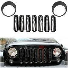 jeep front grill bumpers u0026 grilles 9pcs headlight trim front mesh grill insert