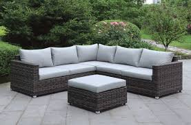 Sectional With Ottoman Lavana Brown Wicker W Gray Fabric Patio Sectional W Ottoman