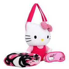 hello kitty plush bag with blanket and eye mask toys