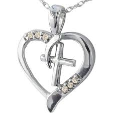 10k white gold heart and cross pendant with diamond accents
