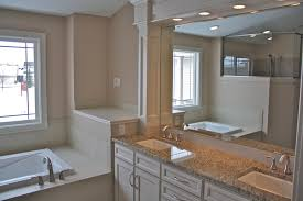 contemporary master bathroom design showing elegant designed cream