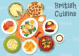 britische küche britische küche hauptspeisen mit snack food icon vektor
