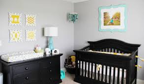 Gray Nursery Decor Baby Nursery Decor Colored Oak Furniture Strong Yellow And