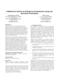 a method to define an enterprise architecture using the zachman