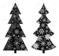 christmas trees holiday symbol black silhouette on white