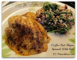 light and easy dinner ideas coffee rub tilapia spinach wild rice is another light healthy