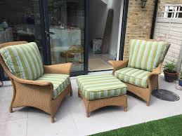 original lloyd loom wicker chair set with footstool in